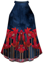 Udear UDEAR Women's Tank Tops Print - Blue & Red Floral High-Neck Halter Top - Women