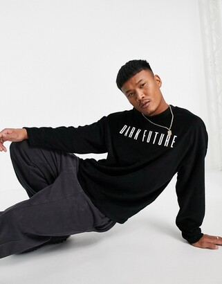 ASOS Dark Future oversized longline t-shirt with logo embroidery in black toweling