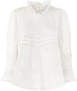 LoveShackFancy Shelley lace-trimmed mock-neck blouse