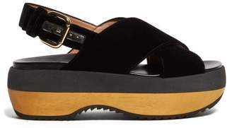 Marni Cross Strap Velvet Flatform Sandals - Womens - Black