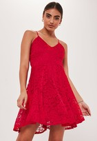 Missguided Petite Red Lace Strappy Skater Dress