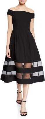 Aidan Mattox Shadow Stripe Off-the-Shoulder Short-Sleeve Midi Crepe Dress