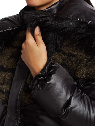 Blanc Noir Camo Faux Shearling & Faux Fur Puffer Coat