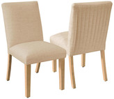One Kings Lane Set of 2 Erin Pleated Side Chairs - Sand Linen - frame, natural; upholstery, sand