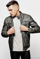 boohoo Grandad Collar Multi Zip PU Biker Jacket grey