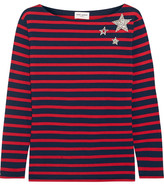 Saint Laurent Embellished Striped Cotton-jersey Top - Red