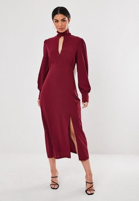 Missguided Wine High Neck Keyhole Puff Sleeve Midi Dress