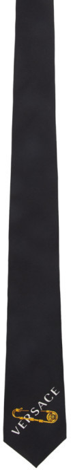 Versace Black and Pink Safety Pin Tie