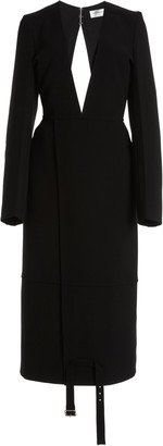 Victoria Beckham Double-Faced Wool Crepe Midi Dress