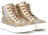 Roberto Cavalli glitter hi-top sneakers - kids - Calf Leather/Leather/PVC/rubber - 28