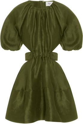 Aje Oxidized Cutout Linen-Blend Mini Dress