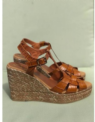 Kanna Margarita Cuero Tan Croc Wedge Sandals - 37
