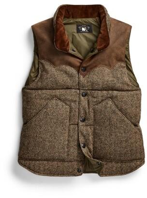 Double RL Ralph Lauren Suede-Yoke Quilted Wool Vest