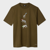 Paul Smith Men's Khaki Supima-Cotton 'Animal' Print T-Shirt