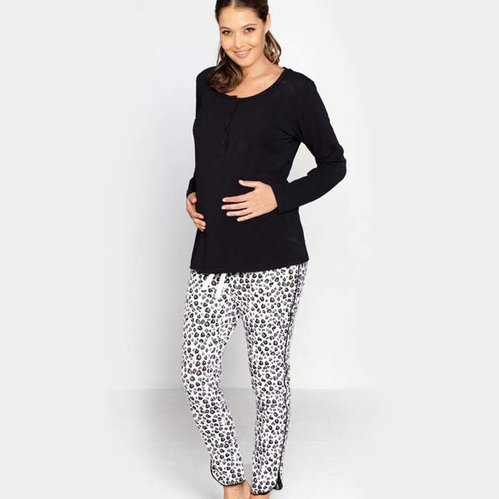 Angel Maternity Black And White Maternity/Breastfeeding Pyjamas