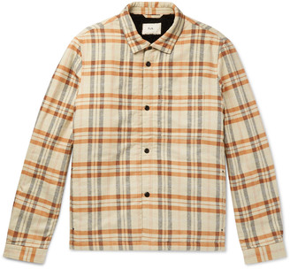 Folk Checked Faux Shearling-Lined Cotton-Flannel Overshirt