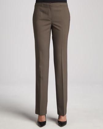 Elie Tahari Peyton Straight-Leg Wool-Stretch Pants