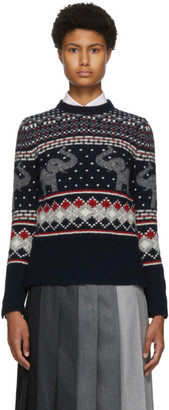 Thom Browne Navy Wool and Mohair Elephant Icon Fair Isle Sweater
