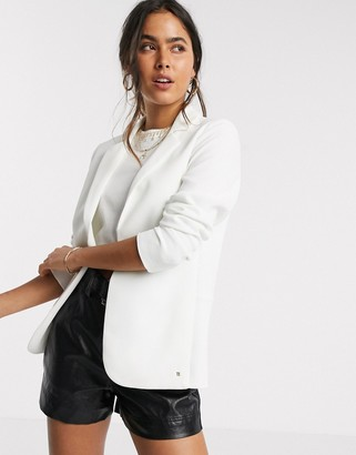 Ted Baker kayete long line straight fit blazer in ivory