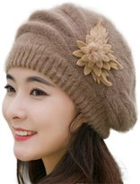 Putars Fashion Womens Flower Knit Crochet Beanie Hat Winter Warm Beret Cap