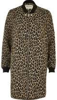 River Island Womens Leopard print longline bomber jacket