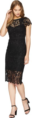 Bebe Women's Cap Sleeve All Over Lace Midi Dress