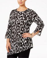 Alfani Plus Size Printed Asymmetrical Top, Only at Macy's