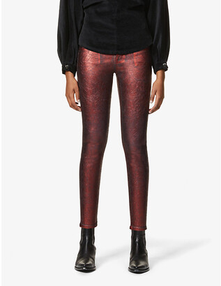 J Brand Alana textured cropped high-rise skinny jeans
