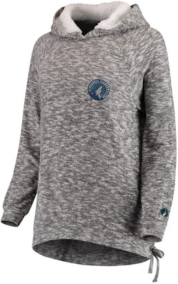 Women's FISLL Heathered Gray Minnesota Timberwolves Side Lace Sherpa Hacci Tri-Blend Pullover Hoodie