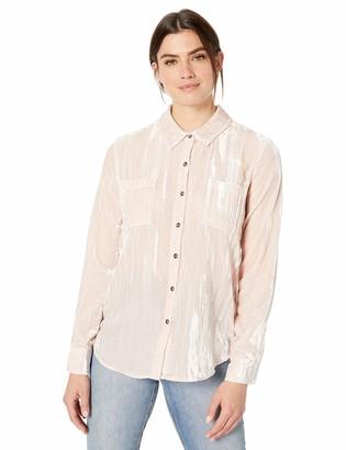 Splendid Women's Long Sleeve Button-Up Velvet Shirt
