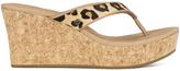 UGG Women's Natassia Calf Hair Leopard Wedged Sandals Chestnut Leopard