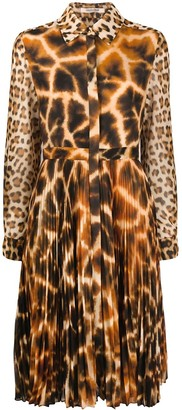 Roberto Cavalli Mixed Animal Print Midi Dress