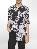 Calvin Klein Womens Floral Roll-Up Sleeve Tunic Shirt