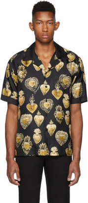 Dolce & Gabbana Black Silk Sacred Heart Shirt