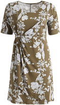 Glam Green & White Floral Gathered-Waist Shift Dress - Plus