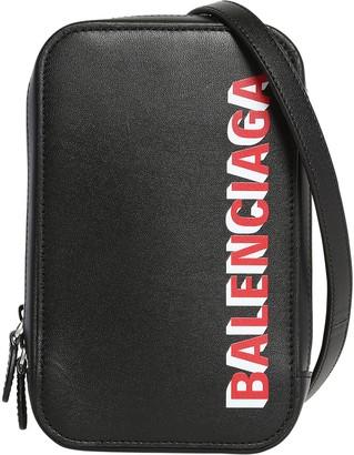 Balenciaga Double Logo Print Leather Phone Holder