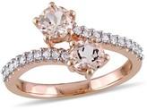 Allura .96 CT. T.W. Morganite and 1/5 CT. T.W. Diamond Open Wrap Ring in 10K Rose Gold