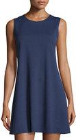 Neiman Marcus Sleeveless Double-Knit Trapeze Dress, Navy