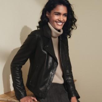 The White Company Leather Jacket , Black, 12