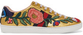 Gucci Ace Watersnake-trimmed Appliquéd Metallic Leather Sneakers - Gold