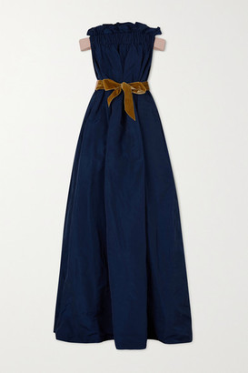 ARTCLUB - Oenothera Off-the-shoulder Gathered Taffeta Maxi Dress - Navy