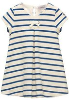 Moncler Cap-Sleeve Striped Terry Swing Dress, Blue, Size 8-14