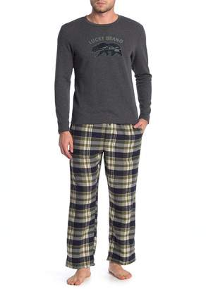 Lucky Brand Printed Shirt & Pants 2-Piece Pajama Set