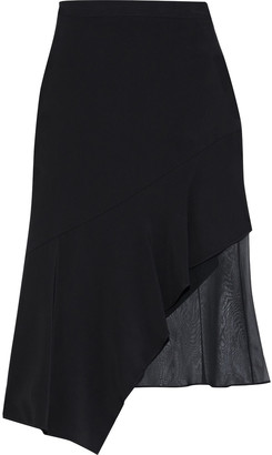 Cushnie Asymmetric Chiffon-paneled Crepe De Chine Skirt