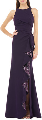 Carmen Marc Valvo Sleeveless Cutaway Crepe Gown w/ Sequin Lined Cascading Ruffle