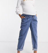 Asos DESIGN Maternity Tapered boyfriend jeans with d-ring waist detail with curved seams in blue with over the bump bump