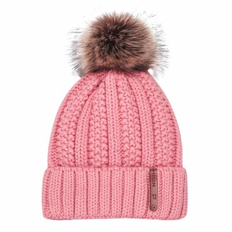 Yvelands Winter Hats for Women Warm Beanie Hat with Faux Fur Bobble Pom Pom Hats Outdoor Sports Ski Skull Caps
