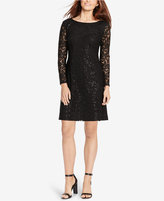 American Living Sequined Floral-Lace Dress