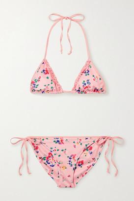 LoveShackFancy Harbor Ruffled Floral-print Triangle Halterneck Bikini - Pink