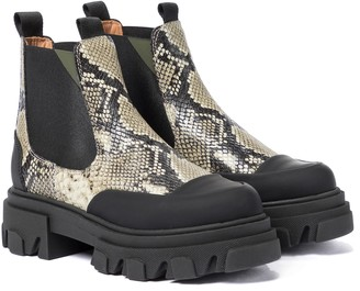 Ganni Snake-effect leather Chelsea boots